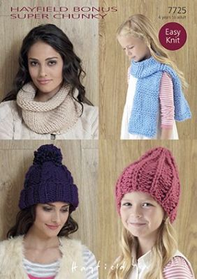 Hayfield Bonus Super Chunky Knitting Pattern - 7725 Hats, Snood & Scarf